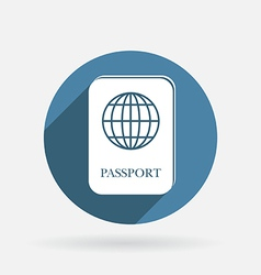 International passport circle blue icon with vector
