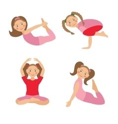 Kid yoga positions vector