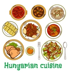 Nutritious dishes of hungarian cuisine sketch icon vector image