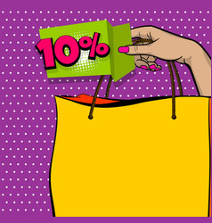 pop art sale banner hand hold shopper bag vector image