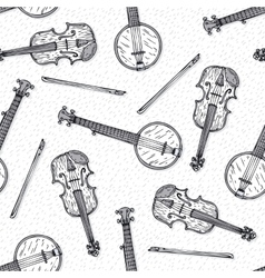 Seamless Pattern with Wooden Fiddle and Banjo vector image vector image