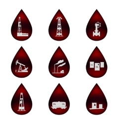 Set of icons in the oil droplets vector image