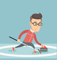 Sportsman playing curling on on a skating rink vector