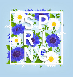 Spring flowers poster vector