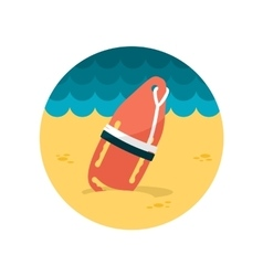Torpedo rescue lifeguard buoy flat icon vector image