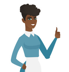 Young african-american cleaner giving thumb up vector