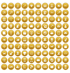 100 cat icons set gold vector