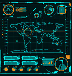 Hud navigation map screen elements vector