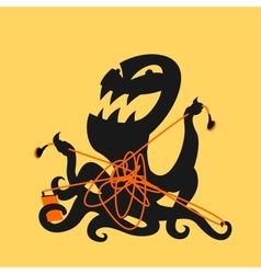 Octopus and headphones vector