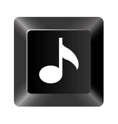 black button music icon vector image