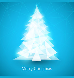abstract christmas tree made of white triangles on vector image