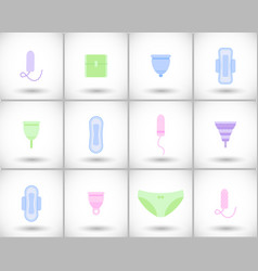 Feminine hygiene flat icons set vector
