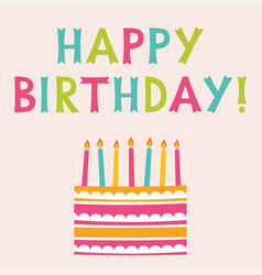 Happy birthday greeting card with a cake vector