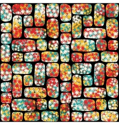 Retro seamless pattern with mosaic of flowers vector