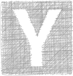 Freehand typography letter y vector