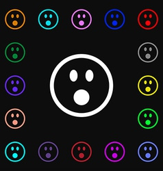Shocked face smiley icon sign lots of colorful vector