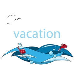 Vacation background sea fish wave vector