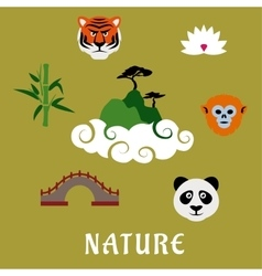 Nature and wildlife china flat icons vector