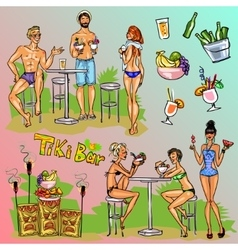 Tiki bar collection hand drawn vector