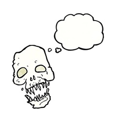 Cartoon scary skull with thought bubble vector