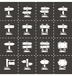 Old wood sign icon set vector