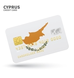 Credit card with cyprus flag background for bank vector