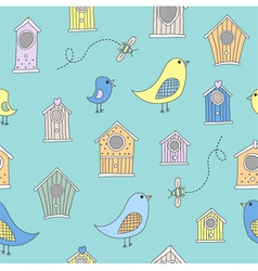 Cute bird houses and birds in a repeating seamless vector