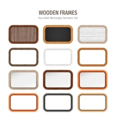 Wooden rounded rectangle banners set vector