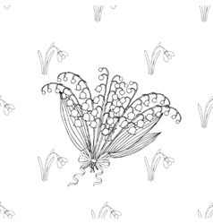 Seamless pattern with lilies of the valley vector image