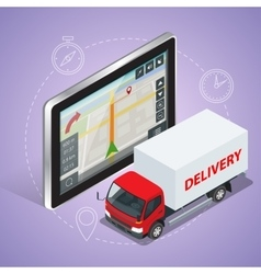 Gps truck geolocation gps navigation touch screen vector