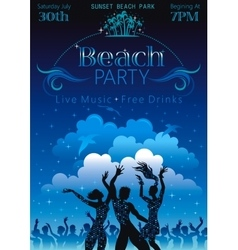 Evening beach background with dancing people vector