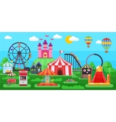Amusement park panorama vector