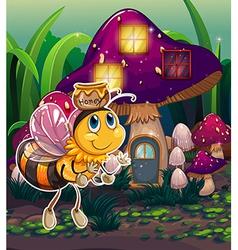 A flying bee near the enchanted mushroom house vector