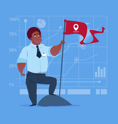 African american business man hold flag successful vector