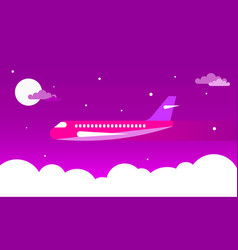 airplane in the night sky vector image vector image
