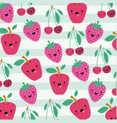 apple cherries and strawberries kawaii fruits vector image