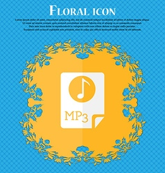 Audio mp3 file icon sign floral flat design on a vector