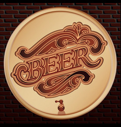 beer wooden barrel on a brick wall vector image
