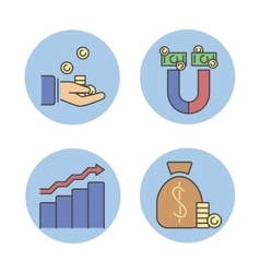 Business success money magnet icons vector