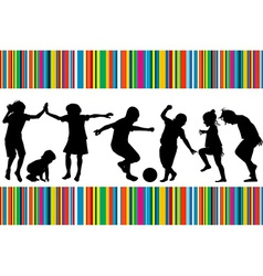 Card with silhouettes of children playing and vector image