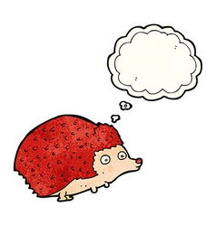 Cartoon hedgehog with thought bubble vector