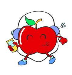Character of red apple vector