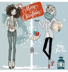 Christmas sketchy girls vector