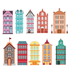 colorful and bright amsterdam dutch city s houses vector image vector image