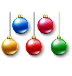 Colorful ball christmas gold chain vector