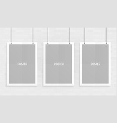 empty three white a4 sized paper mockup hanging vector image