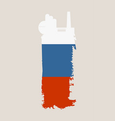Factory icon and grunge brush russia flag vector