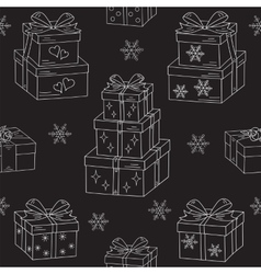 Gift boxes hand drawn doodle seamless vector