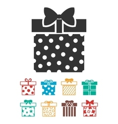 Gift boxes icons set isolated over white vector