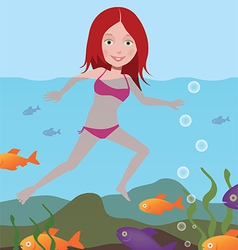 Girl in the sea vector